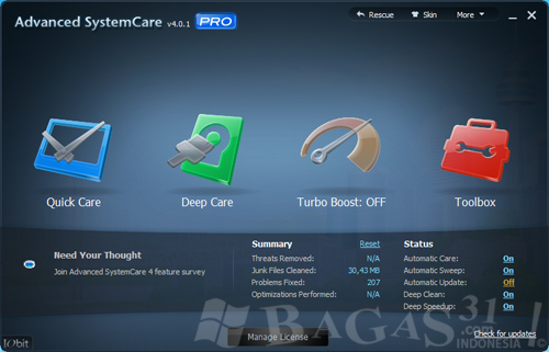 Free Download Advanced SystemCare Pro 4.0.1 Full Version