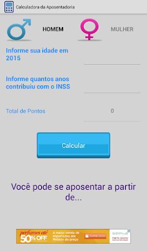 Aplicativo Android calcula o ano da aposentadoria