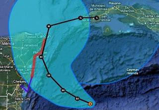 Position, Prognose Verlauf und Warnstufen Hurrikan RINA vom 25. Oktober 2011 15:00 Uhr UTC, 2011, aktuell, Atlantik, Belize, Fluglinie airline Flug gecancelt, Hurrikansaison 2011, Oktober, Playa del Carmen, Rina, Riviera Maya, Verlauf, Vorhersage Forecast Prognose, Yucatán, Zugbahn, Live Ticker Hurrikan RINA: Wahrscheinlich als Major Hurricane nach Playa del Carmen & Cancún (Riviera Maya) und Westkuba