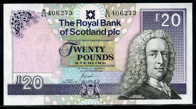 Royal Bank of Scotland notes currency Twenty Pounds Sterling banknote