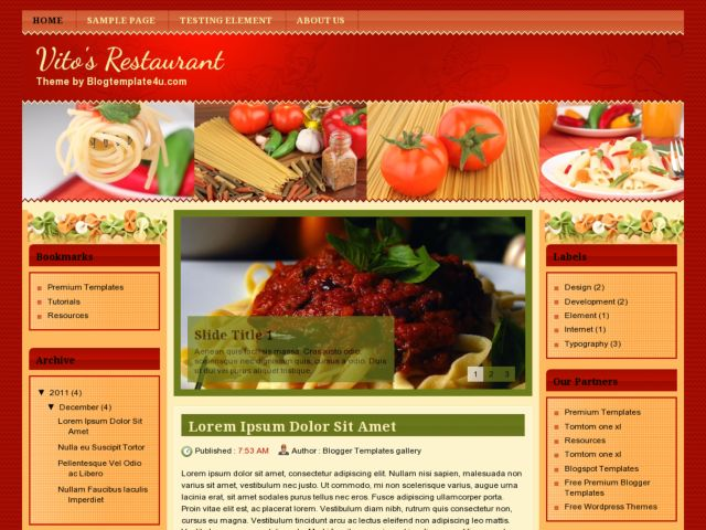Vitos Restaurant Blogger Template