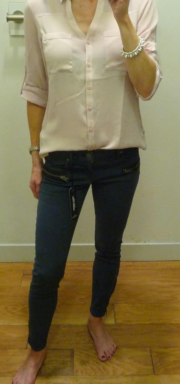 Express Portofino pink, stella ankle legging, jeans, zipper details