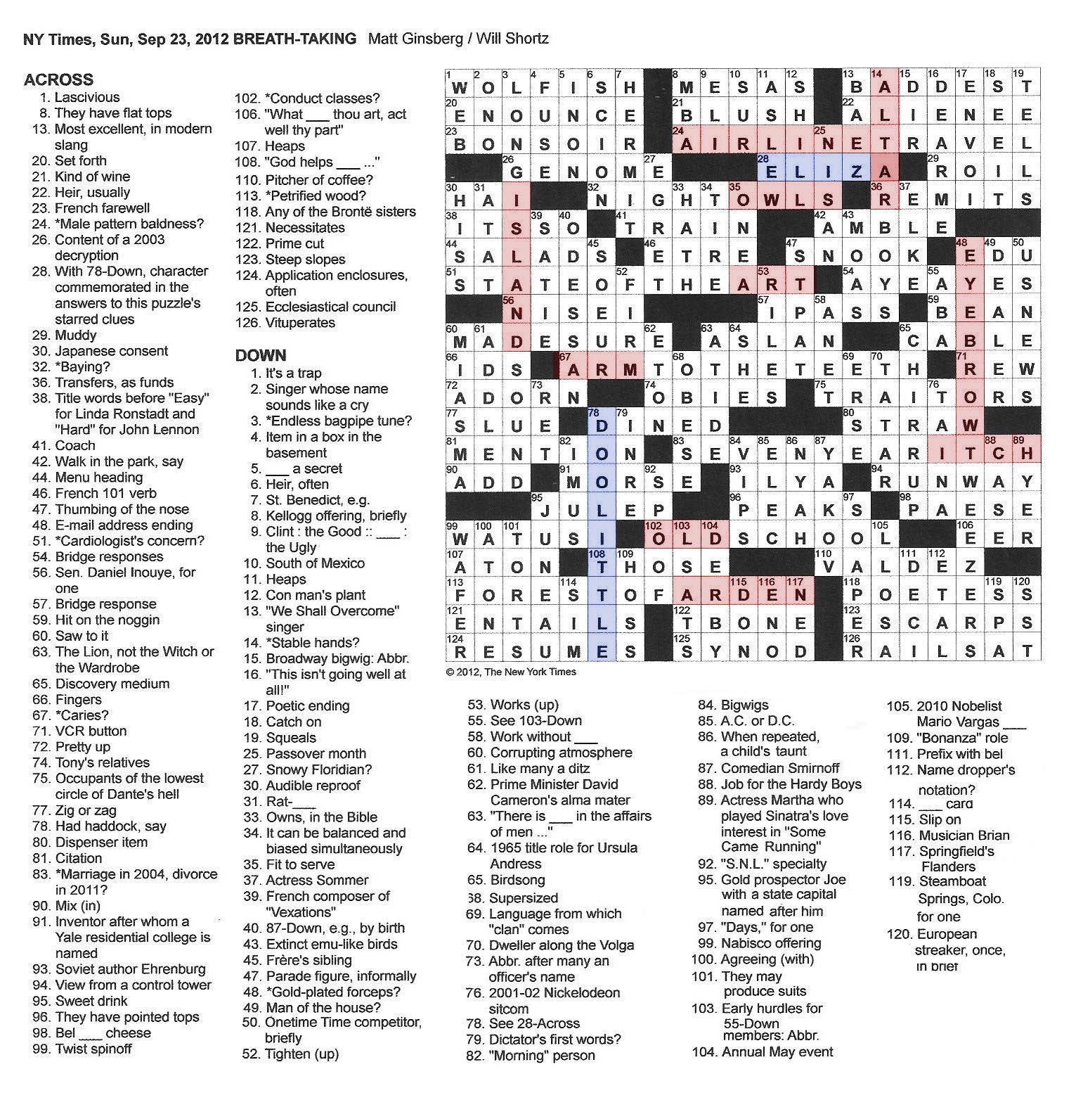 The new york times crossword in gothic september 2012 ccuart Gallery