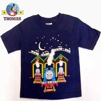 Dark blue Henry Gordon Thomas tank clothes for kids at the railway station shed UV glow paint shirt