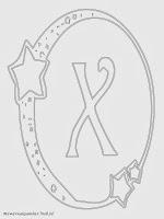 Mewarnai Gambar Huruf Alfabet X Bergaya Bulan Bintang