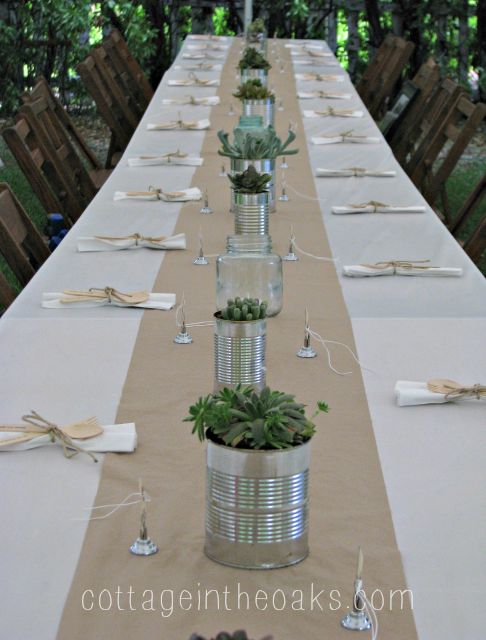 Tin Can Succulent Centerpiece
