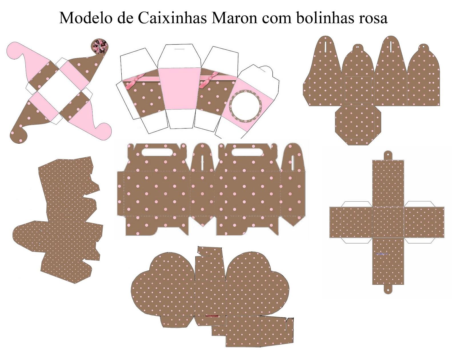 Modelo Caiinha Marrom Bolinhas Rosa