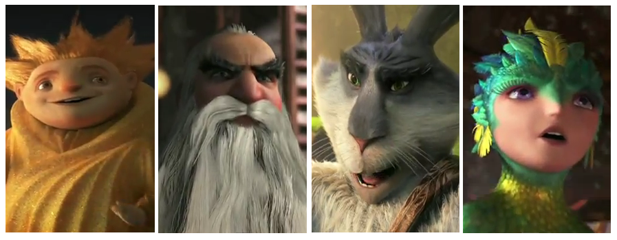 Rise of the Guardians 2012 animated family movie featuring Sandman, Easter Bunny, Santa Claus, Tooth Fairy Dreamworks 3D Animation
