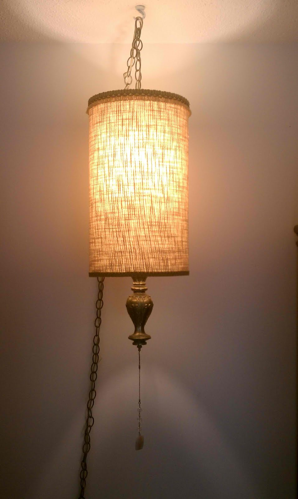 What Will I Find Today Mid Century Tweed Swag Lamp 4