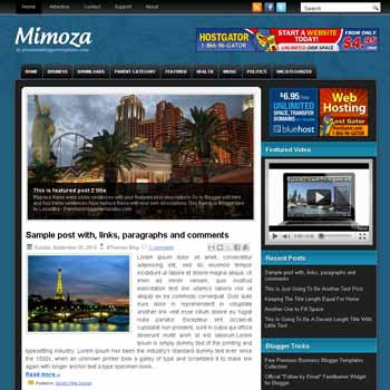 Mimoza style blog template. template image slider blog. magazine blogger template style