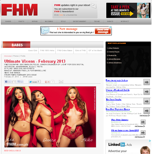 featured on FHM's website again! ;) I shared my Premiere Vixens