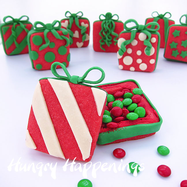 Candy filled christmas present cookies hungry happenings for Christmas cookies to make for gifts