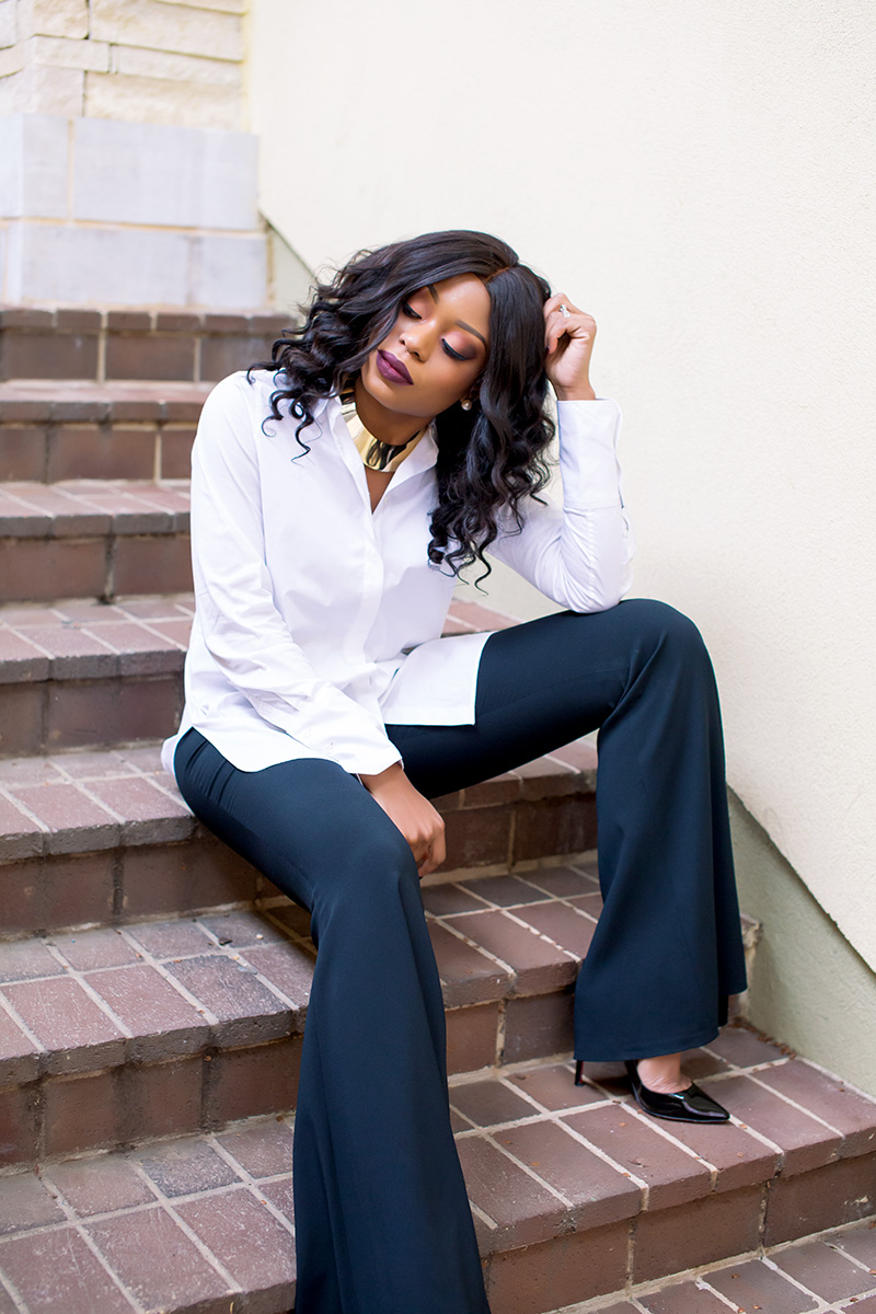 wide flare pants, button down shirt, www.jadore-fashion.com