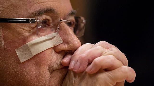 FIFA president Joseph S. Blatter attends a press conference as reaction to his banishmentSource:Getty Images