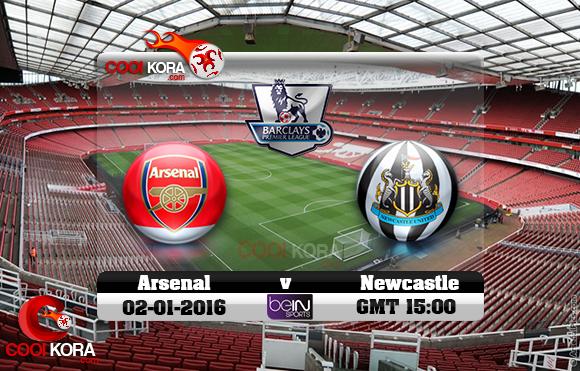 مشاهدة مباراة آرسنال ونيوكاسل يونايتد اليوم 2-1-2016 في الدوري الإنجليزي