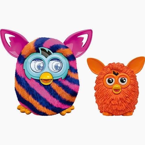 Furby Boom Sunny Listras Azuis e Laranjas + Mini Figura Furby Laranja