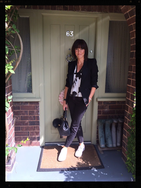 My Midlife Fashion, Zara, Mango, Tuxedo Jacket, Cigarette Pants, Ghost, Trainers, Monochrome