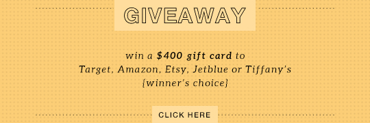 GIVEAWAY: $400 gift card to Target, JetBlue, Tiffany's, Etsy or Amazon
