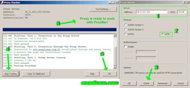 add proxy and check proxy if works