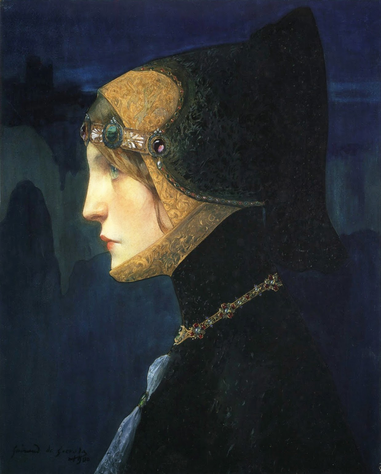 - Head of a Lady in Medieval Costume, 1900