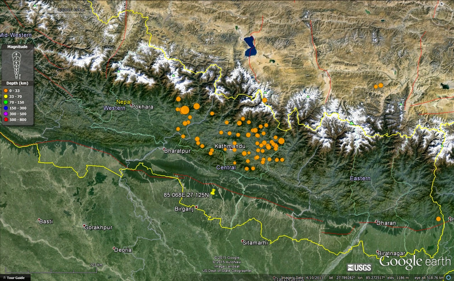 above google earth image of nepal showing location of the 25 april 2015 gorkha earthquake and its aftershocks the epicentre of the earthquake was