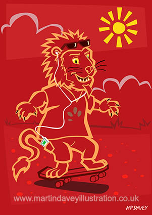 skateboarding happy lion listening to ipod vector illustration