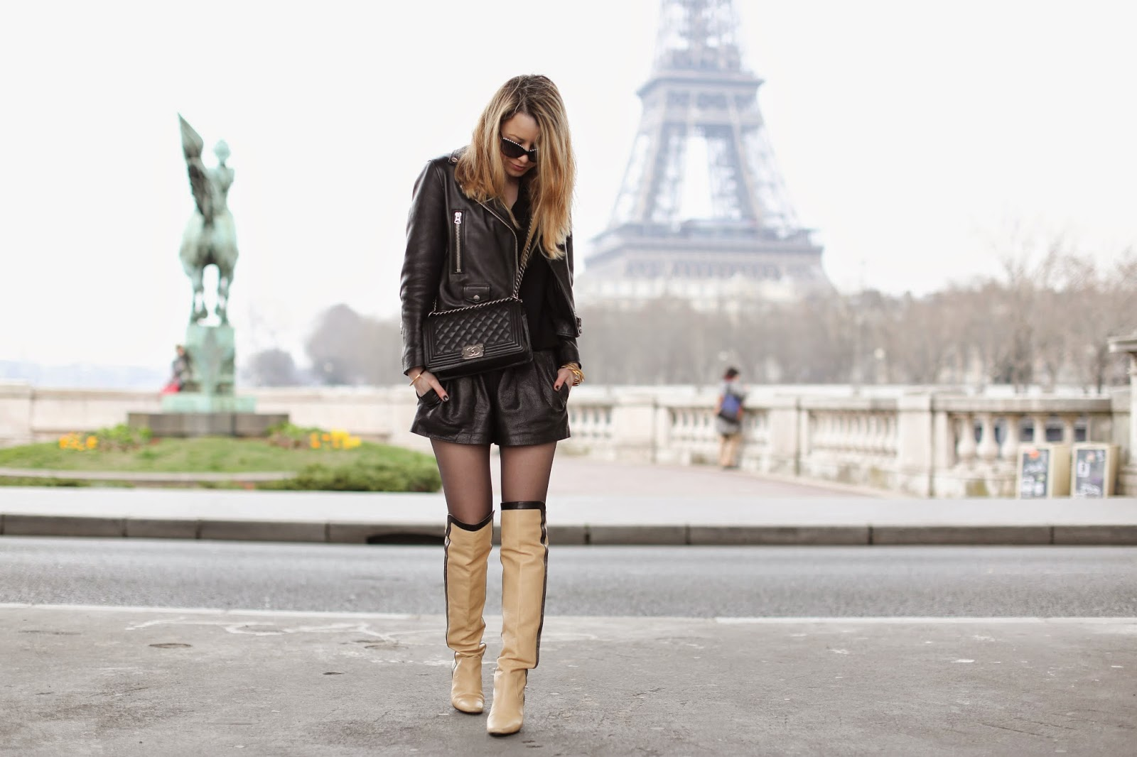 chanel, chanel boots, fashion, streetstyle, burberry, eiffel tower