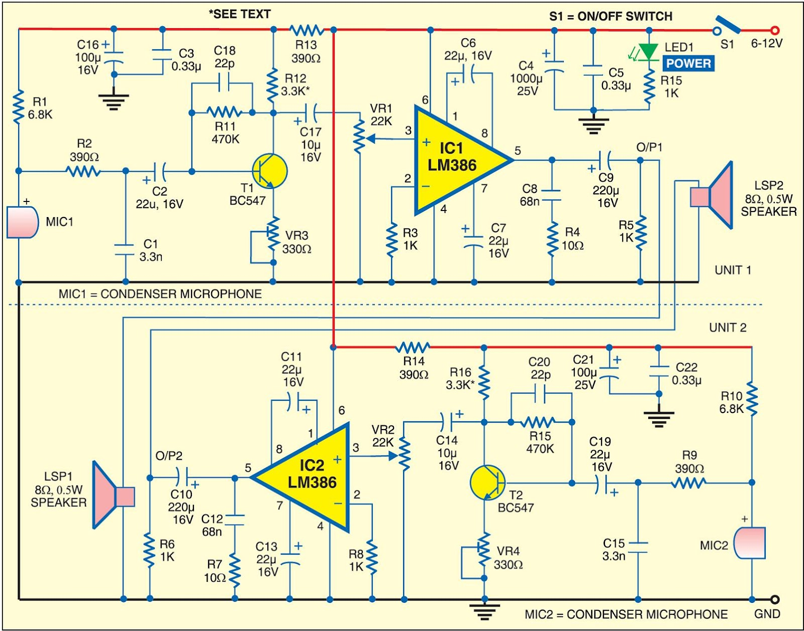 Electronics Projects Intercom Using Lm386 Headphone Lifier Circuit Schematic