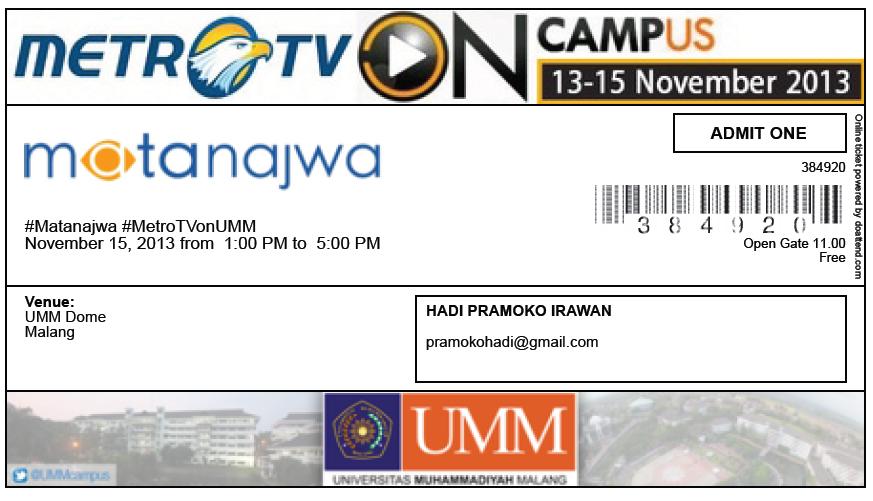Tiket Masuk Acara Mata Najwa On Campus