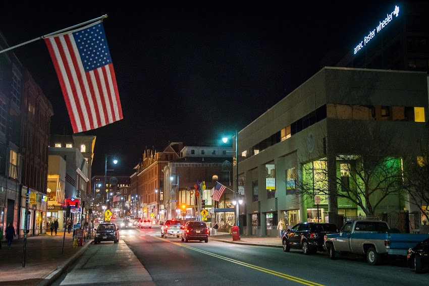 November 2015 Portland, Maine USA Photo by Corey Templeton. In honor of Veterans Day, American flags fly over Congress Street.