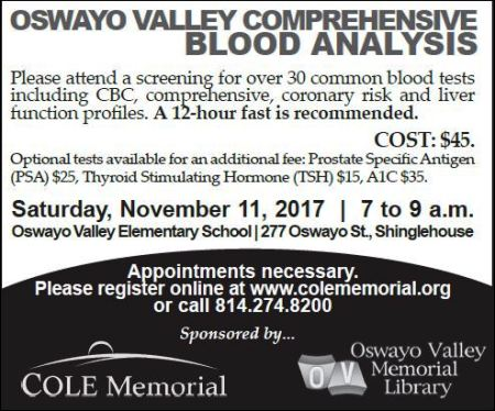 11-11 Blood Analysis, Oswayo Valley
