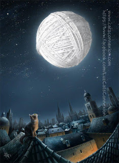 Gato observa lua feita de novelo de lã