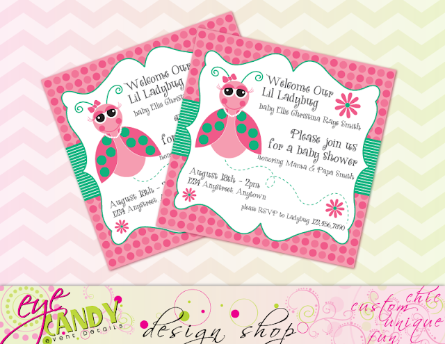 Lil ladybug baby shower invite, girls baby shower invite, baby shower