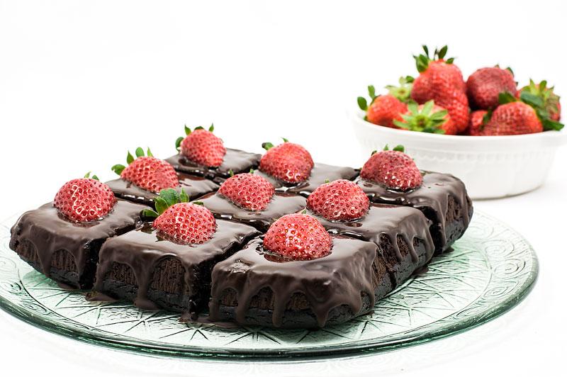 Chocolate strawberry cubes dark chocolate recipe picture focus on cubes