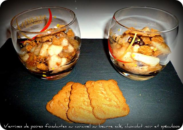 image Verrines de poires fondantes au caramel au beurre salé, chocolat et spéculoos