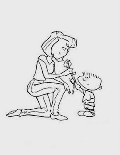 dibujozem Dibujo de un nio dando una Flor a su Madre