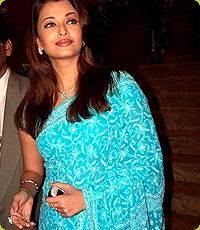 Aishwarya Rai in Green Lucknowi Chikan Saree
