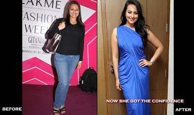 sonakshi sinha fat to fit photos in blue gown