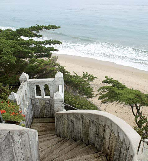 Old world stone stairs to beach, Malibu, Richard Shapiro residence, image via Architectural Digest, as seen on linenandlavender.net