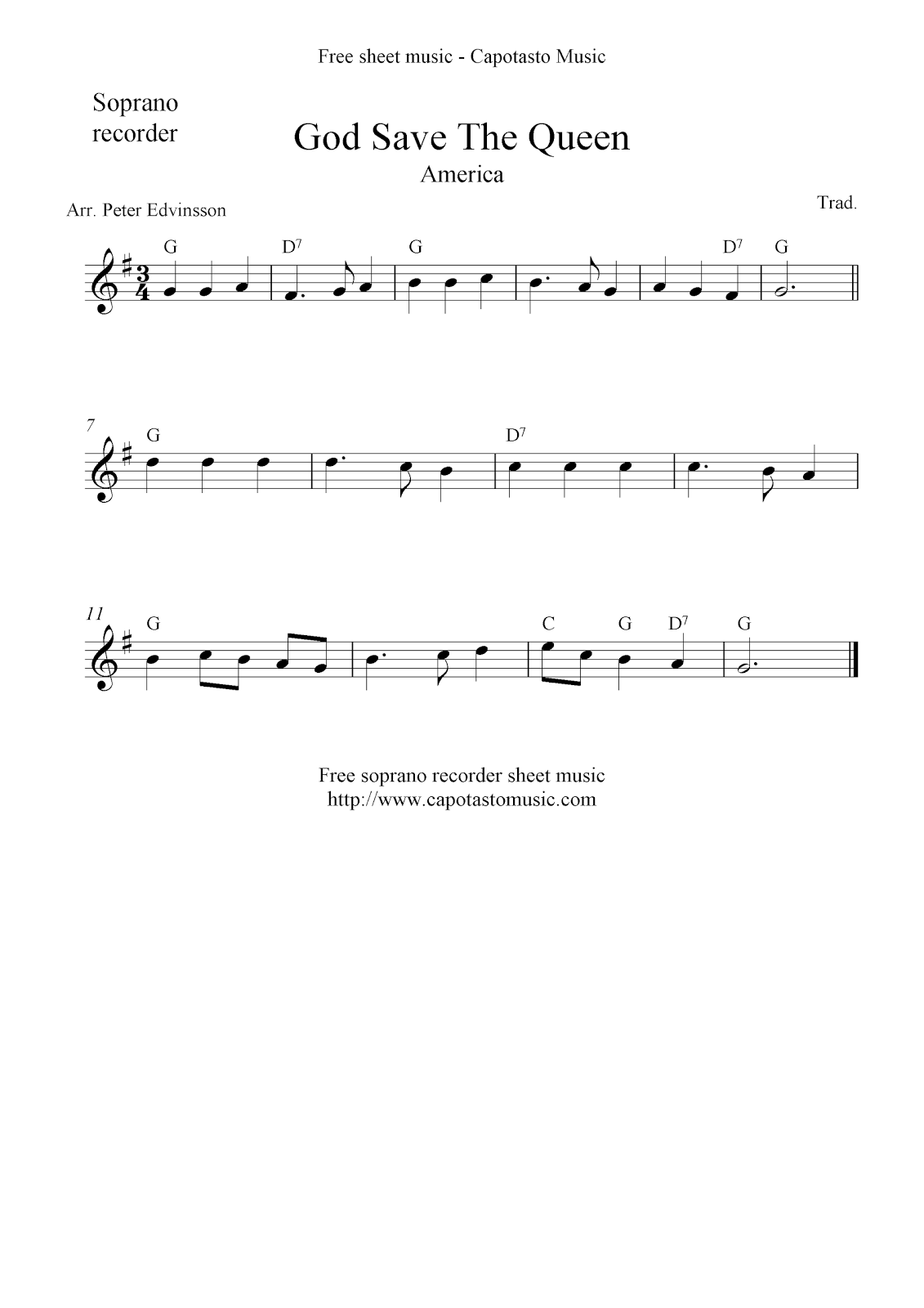 God save the queen america free soprano recorder sheet music notes