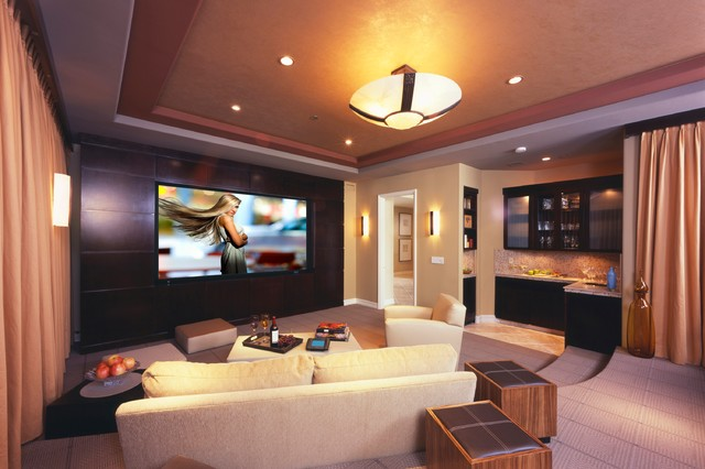 Living room with home theater design