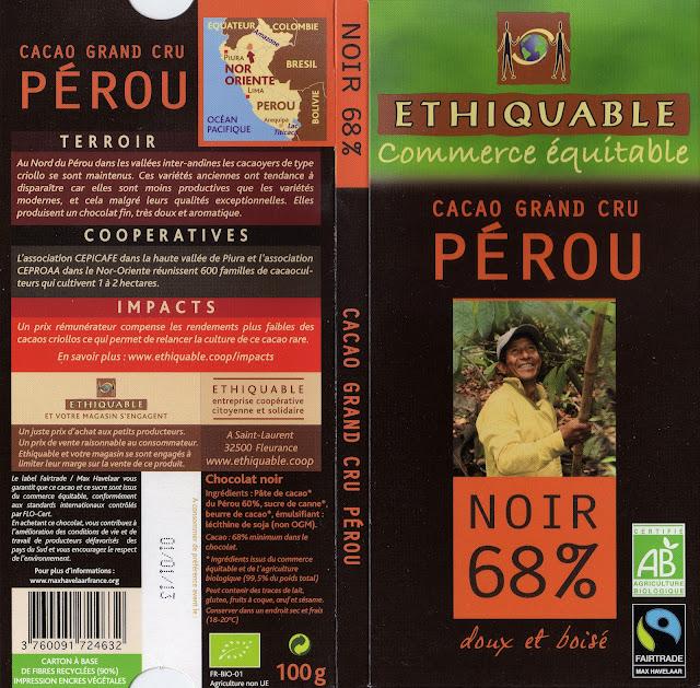 tablette de chocolat noir dégustation ethiquable cacao grand cru pérou noir 68