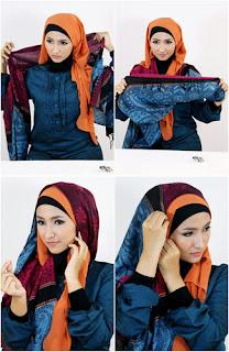 Tutorial hijab kombinasi unik 4 Tutorial Hijab Kombinasi Unik Untuk ke Pesta
