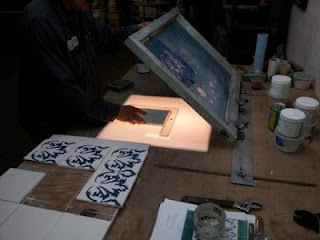 Stenciling the tiles