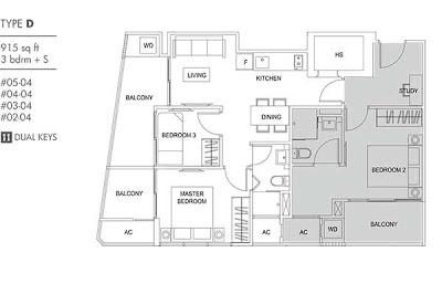 Cassia Edge 3 bedrooms + study Floor Plan