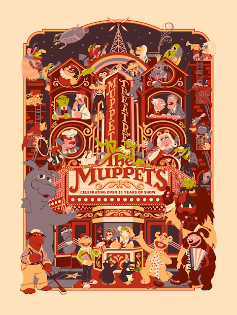 "Dark Ink Art - Standard Edition ""Muppet Theatre"" Screen Print by James V. Carroll"