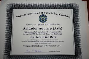 Centenario de AAVSO: 100 variables en 100 dias.