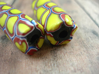 yellow millefiore venetian african trade beads
