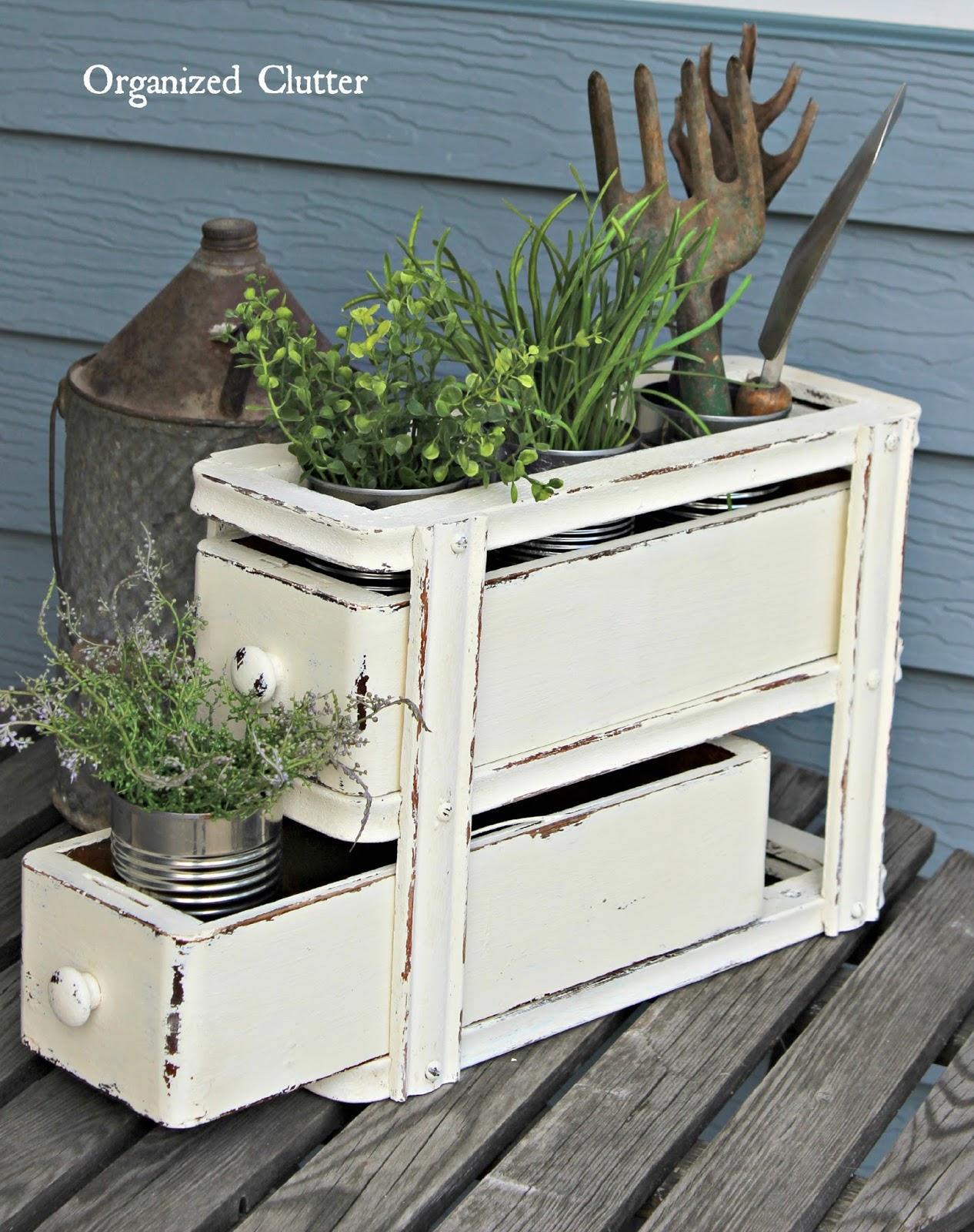 Repurposed Sewing Machine Drawer Flower Holder www.organizedclutter.net