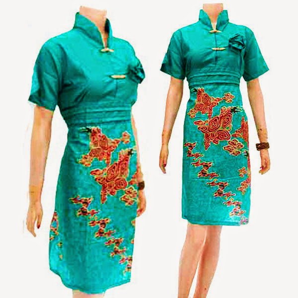 DB3791 Mode Baju Dress Batik Modern Terbaru 2014